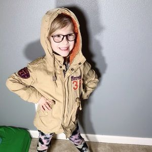 Cool kid, utility jacket w/ patches!!
